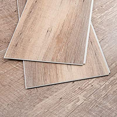 CHARME Stone Core Engineered Vinyl Plank Flooring Quick Unilin Lock Syterm Stone Plactic Composite Interlocking Plank Flooring, 48x7 inch, Pack of 10