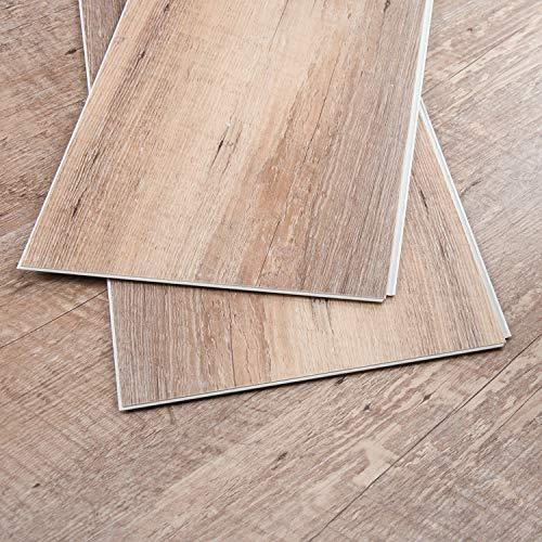 CHARME Stone Core Engineered Vinyl Plank Flooring Quick Unilin Lock Syterm Stone Plactic Composite Interlocking Plank Flooring, 48x7 inch, Pack of 10
