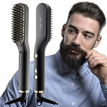 ANLAN Nuevo Cepillo Alisador de Barba con 5 Niveles de Temperatura, Cepillo Barba Electrico Plancha de Pelo Flequillo Eléctrico Profesional Peine de Peluquería Multifuncional Cepillo para Hombre Mujer