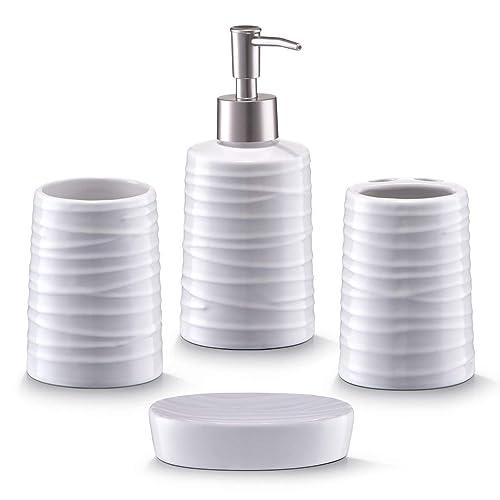 Zeller 18266 Ensemble d'accessoires de bain en céramique, blanc, 4 pièces