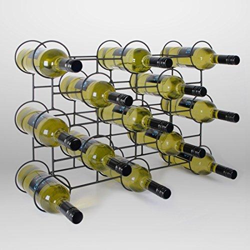 Weinregal/Flaschenregal CIRCOLO aus Metall, schwarz pulverbeschichtet, für 13 Flaschen - H 60 x B 45 x T 14 cm