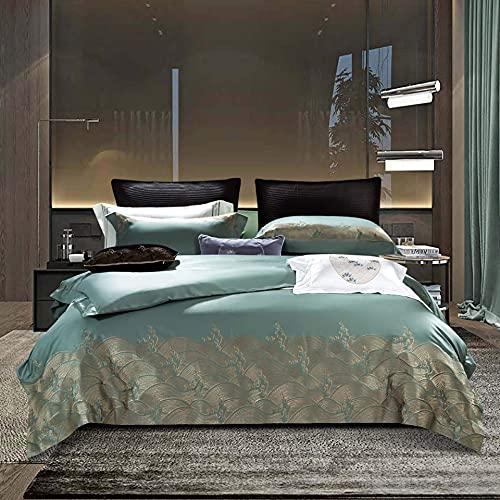 N/Z Wohnausstattung Bettwäschesätze Vierteilige Baumwollstickerei-Bettwäschesätze Seidige, ultraweiche, Falten- und lichtbeständige Bettbezug-Kissenbezug-Bettdecke Gold 2,0 m (6,6 Fuß)