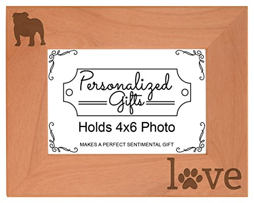 English Bulldog Gifts Paws Dog Owner Love Natural Wood Engraved 4x6 Landscape Picture Frame Wood