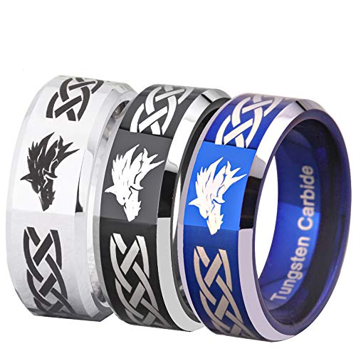 FREE Custom Engraving Three Colors(Silver/Blue/Black) The Legend of Zelda Ring- Wolf Link Ring Tungsten Carbide Wedding Bands Ring (Black with Silver Edge, 11.5)