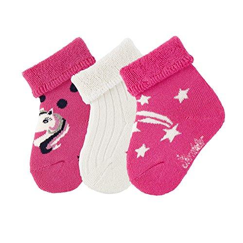 Sterntaler Mädchen Baby-Söckchen 3er-Pack Einhorn Socken, Pink (Magenta 745), 13-14