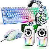 Teclado para juegos USB con retroiluminación arcoíris con cable+Ratón óptico para juegos con LED arcoíris de 2400 ppp+Auriculares estéreo para juegos+Altavoces RGB+Alfombrillas de ratón(blancas)