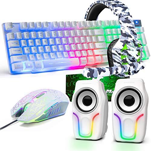 Teclado para juegos USB con retroiluminación arcoíris con cable+Ratón óptico para juegos...