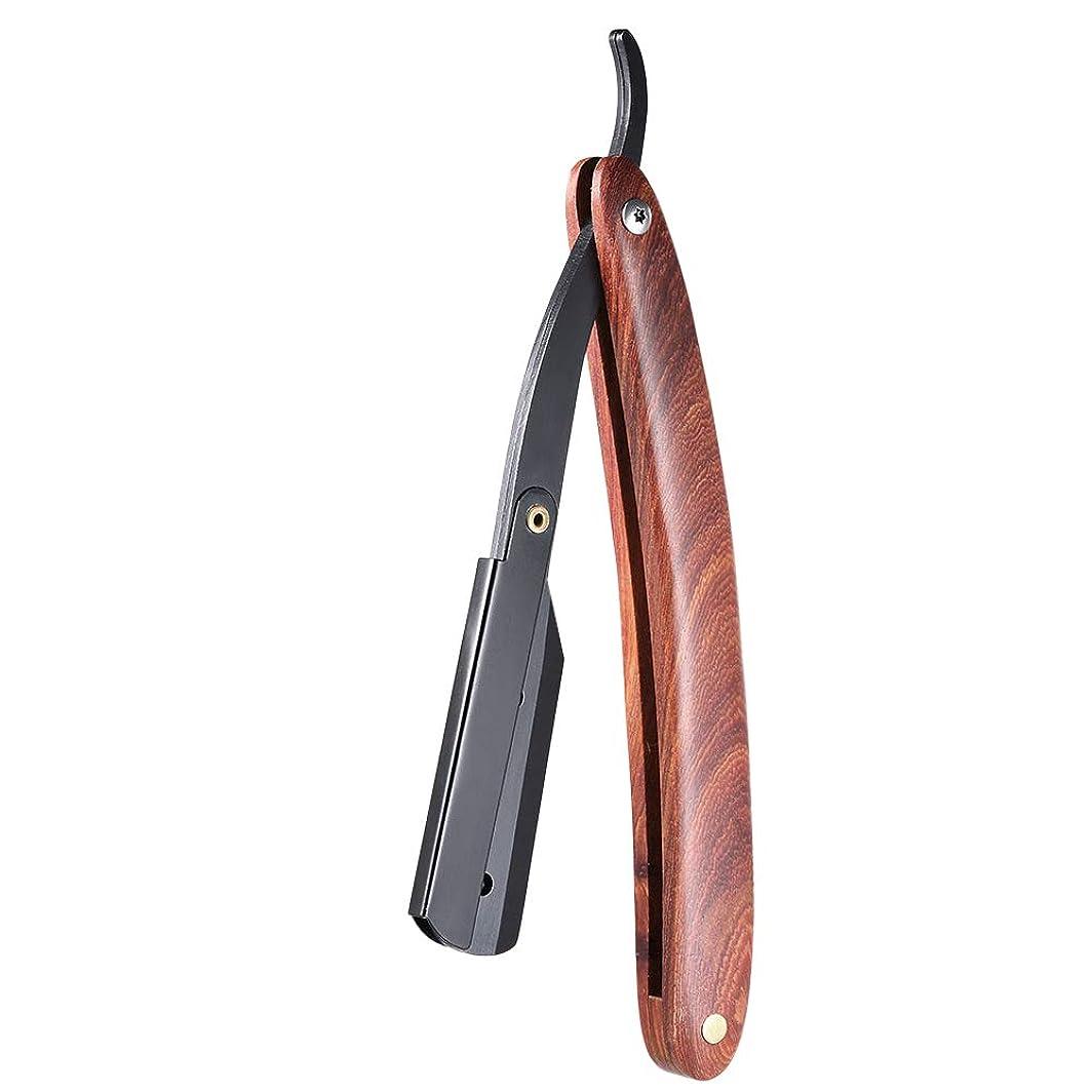 土曜日誓い効能あるMen Shaving Straight Edge Razor Stainless Steel Manual Razor Wooden Handle Folding Shaving Knife Shave Beard Cutter Pouch