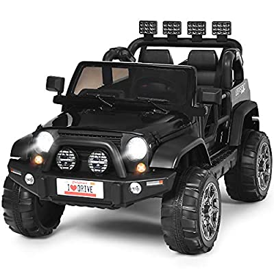 Costzon 2-Seater Ride on Truck, 12V Battery Powered Electric Vehicle Toy w/ 2.4G Remote Control, 3 Speed, LED Lights, MP3 Horn, Music, 2 Doors Open, Spring Suspension, Ride on Car for Kids (Black) by Costzon