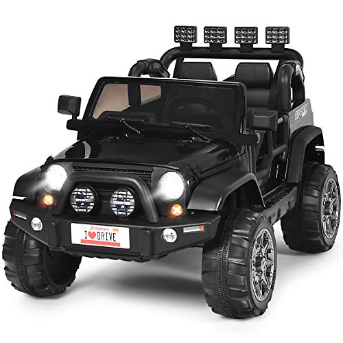 Costzon 2-Seater Ride on Truck, 12V Battery Powered Electric Vehicle Toy w/ 2.4G Remote Control, 3 Speed, LED Lights, MP3 Horn, Music, 2 Doors Open, Spring Suspension, Ride on Car for Kids (Black)