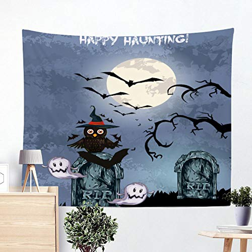 Yhjdcc Happy Halloween Wandbehang Trick or Treat Tapisserie Hexenbesen Hut Rip Kerze Sch?del K¨¹rbis Ghost Spider Decor 150cm x 200 cm