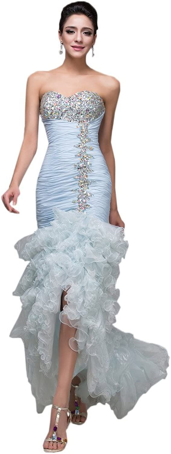 MILANO BRIDE Gorgeous Mermaid Strapless Crystals Ruffle Evening Dress Prom Gown
