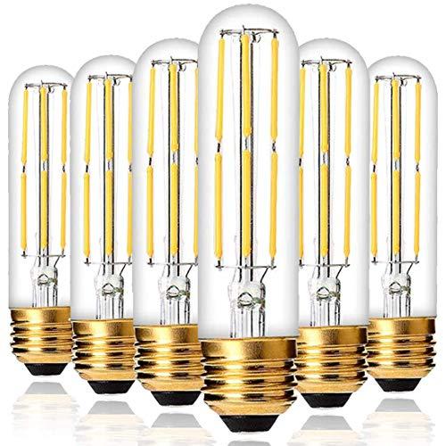 Dimmable T10 LED Bulbs Warm White 2700K,6W LED Tubular Edison Bulbs 60 Watt Equivalent,550LM, E26 Medium Base Lamp Bulb for Desk Lamp, Pendant Lights,6Pack