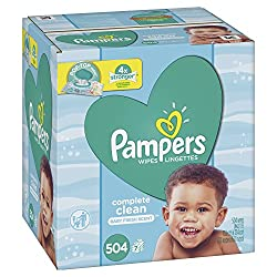 Baby Wipes, Pampers Sensitive Water Baby Diaper Wipes, Complete Clean Scented, 7X Pop-Top Packs, 504