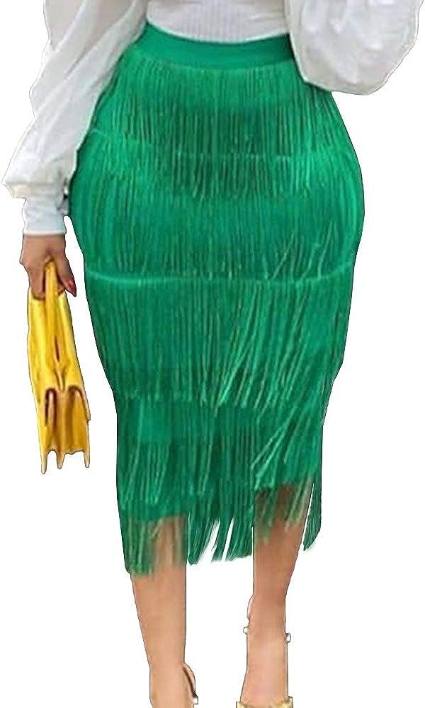 AOMEI Women's High Waist Fringe Tiered Bodycon Pencil Midi Skirt