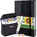 "Ohuhu 60 Colors Alcohol Art Markers (Fine & Chisel, Bonus 1 Colorless Blender) + 8.3"" ×11.7"" Marker Pads Art Sketchbook, 120LB/200GSM Heavy Smooth Drawing Papers, 78 Sheets/156 Pages"