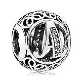Everbling Vintage Letter A Clear CZ 925 Sterling Silver Bead Fits Pandora Charm Bracelet
