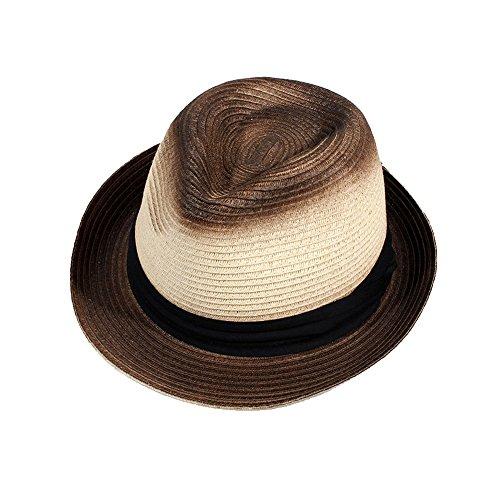 Damen Sonnenhut Einfach  Personalisiert  Bowler Hut  Panama Strandhut Strohhut Faltbar Sommer  Sonnenhut  Unisex (Farbe : Nicht-gerade Weiss)