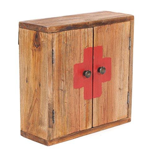 Armadio medico vintage | 35x35x35x13cm (HxLxP), legno riciclato | pensile, mensola a muro, armadietto per medicinali, armadio bagno in legno massello, marrone vintage | ripostiglio