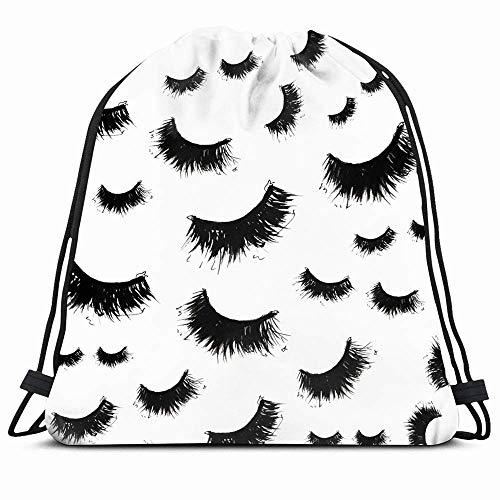 Drawstring Backpack String Bag 14x16 Black Watercolor Cosmetics Mascara False Textures Eyelashes...