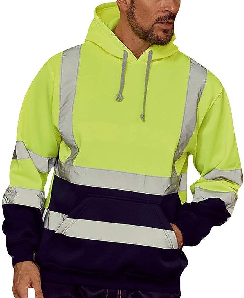 Men's Reflective Hooded Sweatshirt Long Sleeve Hooded Sweatshirt Tops Road Work High Visibility Pullover Blouse