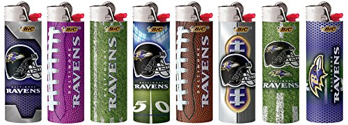 BIC 8pc Set Compatible with Baltimore Ravens NFL Officially Licensed Cigarette Lighters