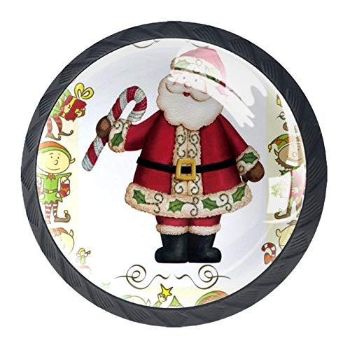 Tirador de manijas de cajón Perillas decorativas del gabinete del cajón Manija del cajón del tocador 4 piezas,duendes pies de duende santa claus bastón de caramelo