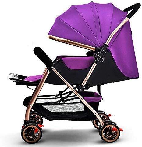APcjerp El Cochecito recién Nacido Puede Sentarse y Dormir Durante 1 Mes - 4 años de Edad Coche de 4 Ruedas (Color: Rosa) (Color : Purple)