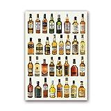 Cuadros Decoracion,Arte De Pared De Vino, Carteles De Lona, Impresiones, Whisky, Sake, Ron, Brandy, Ginebra, Lienzo, Pintura, Arte De Pared para Bar, Cocina, Restaurante, Decoración - 30X40Cm