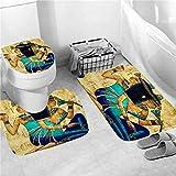 NUGKPRT Cortina de la Ducha,Shower Curtain Set Bathroom Curtains Bath Carpet Anti-Slip Mats Doormats Soft Toilet Rugs Home Decoration 3PCMatSet-A