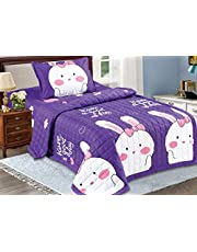 Kids 3Pcs Compressed Double Side Comforter Set,Single Size, Bunny