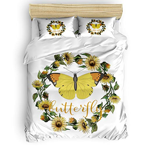 USOPHIA Duvet Cover Twin Size Sunflower Garland Butterfly White Background Ultra Soft Comfy 4 Piece Modern Bedding Duvet Cover Set with Zipper Closure