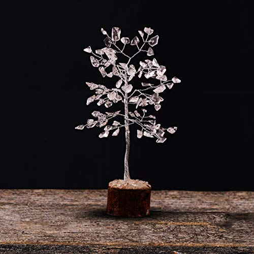 Crocon Clear Quarts Natural Color Healing Gemstone Crystal Bonsai Fortune Money Tree for Good Luck, Wealth & Prosperity-Home Office Table Decor Spiritual Gift (With Silver Wire Branches) Size 7-8 Inch
