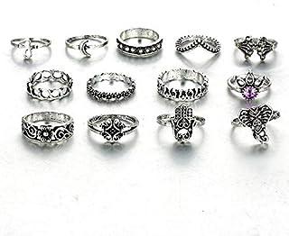 النساء خاتم ميدي حزب العتيقة الفضة الفيل خواتم اليد مجموعة 13 قطعة