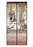 Floral Magnetic Insect Door Screen High Density Fly Bug Mosquito Mesh Curtain Top-To-Bottom