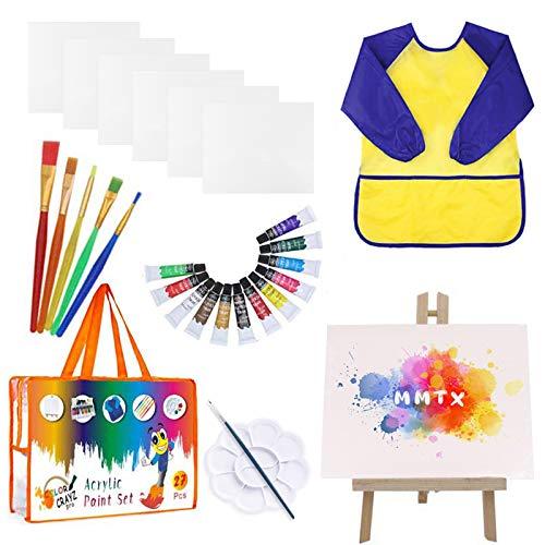 MMTX Kit Pittura per Bambini, 27 Pezzi Acquarelli per Bambini con Pennelli Pittura, Colori A Tempera, Cavalletto, Tele Pittura, Tavolozza Pittura, Grembiule Pittura Bambini per Kids Early Learning