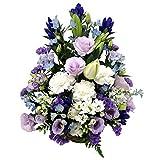お供え お悔み 法要 四十九日 生花 フラワーアレンジメント ユリ 入り L サイズ 高さ45cm (白+青紫系)