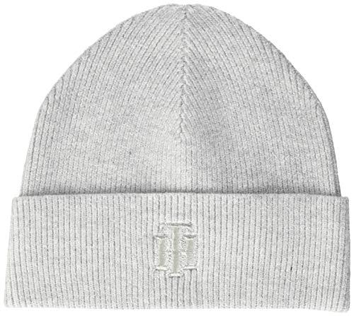 Tommy Hilfiger Damen Th Rich Glitter Logo Beanie Schirmmütze, Grau (Grey Pdb), One Size