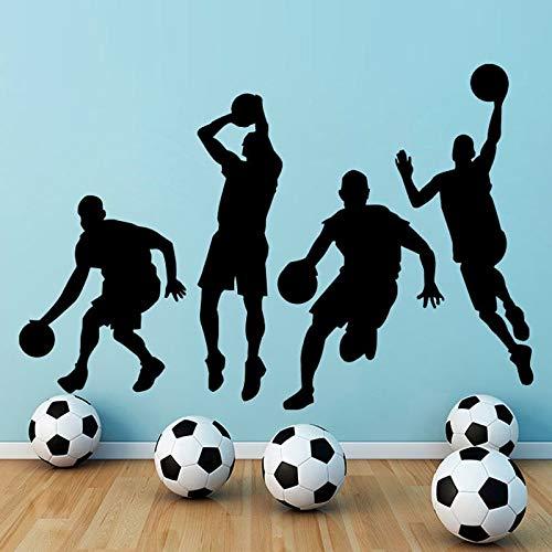 Eine gruppe von basketball team wandtattoos jungen schlafzimmer dekorative vinyl abnehmbare spieler wandaufkleber home decor 86 cm x 59 cm