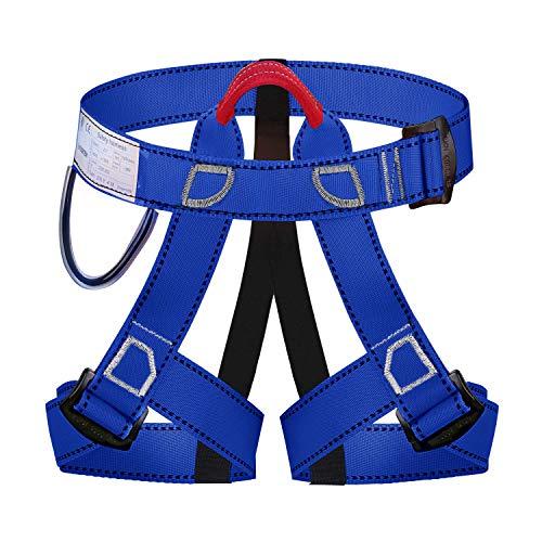 Wildken Mehrzweck Klettergurt, Absturzsicherung Taille Hüfte Schutz Sicherheitsgurt Outdoor bergführern Klettern für Bergsteigen Sportklettern Feuerwehr Baumklettern (Blau)