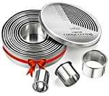 Round Cookie Biscuit Cutter Set, 12 Graduated Circle Pastry Cutters, Heavy Duty Commercial Grade...