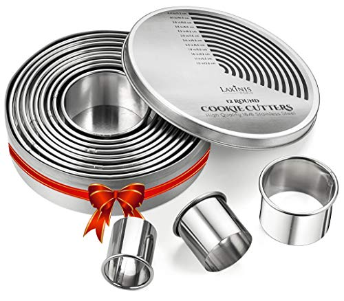 Round Cutter Set, 12 Graduated Circle Cookie & Pastry Cutters,