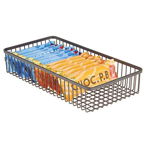 mDesign Organizador de cajones universal de metal – Cubertero para ordenar los utensilios y accesorios de cocina en los cajones – Cesta metálica para la cocina y el hogar – color bronce