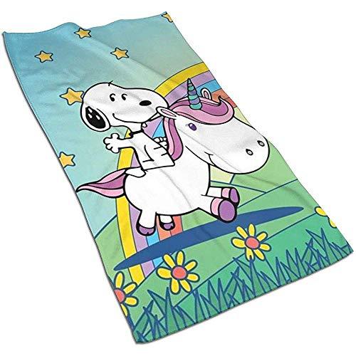 Snoopy mit Unicorn Soft Super Absorbent Schnelltrocknendes Handtuch Badetuch Strandtuch - 27,5 x 17,5 Zoll
