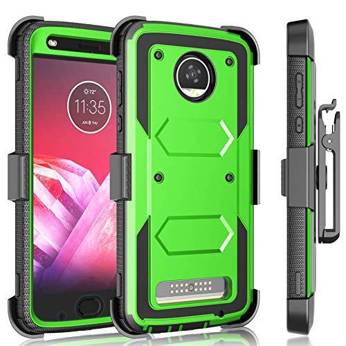 Moto Z2 Force Case, Motorola Moto Z2 Play Holster Clip, Tekcoo [Tshell] Shock Absorbing [Built-in Screen] Secure Swivel Locking Belt Defender Full Body Kickstand Carrying Sturdy Cases Cover -Green