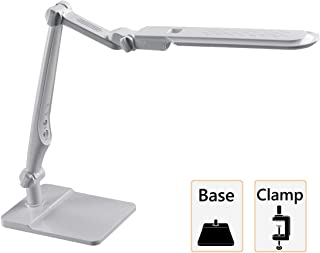 2 in 1 LED Desk Lamp and Clamp Table lamp, Multi Angle Rotation,3 Color Modes Adjusting Stepless Dimming, 10W,Intelligent Memory Function, High Brightness LED Sources, Eye Care