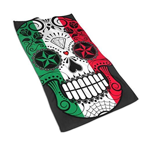 Bandera Mexicana Sugar Skull Toallas de Mano Decorativas para el hogar, Suaves y Altamente absorbentes, Multiusos para baño, Hotel, Gimnasio y SPA, 27,5 x 15,7 Pulgadas