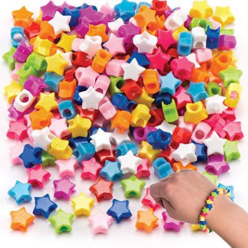 Baker Ross AR290 - Cuentas de Estrellas de Colores (Pack de 400) que los Niños Pueden Usar para Bisutería, Manualidades con Cuentas y Collages, Varios Colores