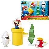 Nintendo Super Mario Underwater 2.5 Pulgadas Figura Diorama Play Set, Incluye: Mario, Cheep-Cheep, Blooper, Mechanical Warp Pipe, Spinning Planta de Agua y Dos Monedas