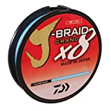 Daiwa JBGD8U15-150IB J-Braid X8 Grand Braided Line, 150 Yards, 15 Lbs Tested.007' Diameter, Island Blue